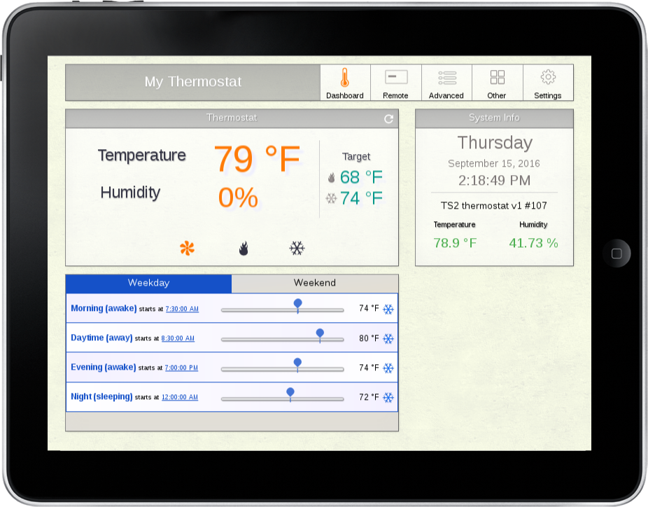 iPad, Tablet with SmartThermostat App