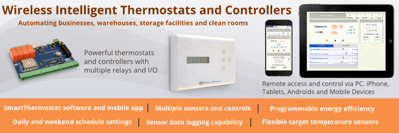 Wireless Intelligent Thermostats, Mulitpoint Contollers and Relay Switches